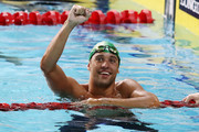 Chad le Clos of South Africa celebrates victory in the Men's 100m Butterfly Final on day five of the Gold Coast 2018 Commonwealth Games at Optus Aquatic Centre on April 9, 2018 on the Gold Coast, Australia.