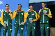 Bronze medalists Calvyn Justus, Cameron Van Der Burgh, Chad Le Clos and Bradley Tandy of South Africa  pose during the medal ceremony for the Men's 4 x 100m Medley Relay Final on day six of the Gold Coast 2018 Commonwealth Games at Optus Aquatic Centre on April 10, 2018 on the Gold Coast, Australia.