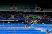 Image was created using a variable planed lens.) Rie Kaneto of Japan leads the field in the Women's 200m Breaststroke Final on Day 6 of the Rio 2016 Olympic Games at the Olympic Aquatics Stadium on August 11, 2016 in Rio de Janeiro, Brazil.