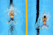 Taylor McKeown (L) of Australia leads Rie Kaneto of Japan in the Women's 200m Breaststroke Final on Day 6 of the Rio 2016 Olympic Games at the Olympic Aquatics Stadium on August 11, 2016 in Rio de Janeiro, Brazil.
