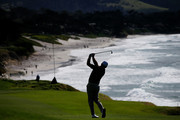 Graeme McDowell of Northern Ireland plays his second shot on the ninth hole during the first round of the AT&T Pebble Beach Pro-Am at Pebble Beach Golf Links on February 07, 2019 in Pebble Beach, California.