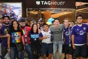 Orlando Pride player, Ali Krieger (4th from left) and Orlando City player, Sacha Kljestan (6th from left) kick-off the Tag Heuer new partnership with Orlando City SC & Orlando Pride on May 3, 2018 in New York City.