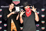 Paulina Vega and Alec Monopoly attend the TAG Heuer celebration of Art Basel Miami 2018 with the launch of Alec Monopoly's special edition timepieces on December 6, 2018 in Miami, Florida.