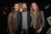 """(L-R) Executive Vice President for Original Programming at TBS Brett Weitz, Greg Garcia and Alix Jaffe attends TBS """"The Guest Book"""" Season 2 premiere at EPLP Restaurant on October 16, 2018 in West Hollywood, California."""