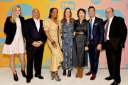 (L-R) VP of Unscripted Programming for TBS and TNT Jenny Ramirez, TBS, TNT, and truTV SVP of Unscripted Programming Michael Bloom, Kim Bondy, EVP of Original Non-Fiction and Kids Programming at WarnerMedia Jennifer O'Connell, Ann Curry, General Manager, TBS, TNT and truTV Brett Weitz and SVP of Current Programming at WarnerMedia Sam Linsky pose in the green room during the TBS + TNT Summer TCA 2019 at The Beverly Hilton Hotel on July 24, 2019 in Beverly Hills, California. 596650