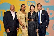(L-R) TBS, TNT, and truTV SVP of Unscripted Programming Michael Bloom, Kim Bondy, Ann Curry and General Manager, TBS, TNT and truTV Brett Weitz pose in the green room during the TBS + TNT Summer TCA 2019 at The Beverly Hilton Hotel on July 24, 2019 in Beverly Hills, California. 596650