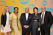 (L-R) VP of Unscripted Programming for TBS and TNT Jenny Ramirez, Kim Bondy, TBS, TNT, and truTV SVP of Unscripted Programming Michael Bloom, Ann Curry and SVP of Current Programming at WarnerMedia Sam Linsky pose in the green room during the TBS + TNT Summer TCA 2019 at The Beverly Hilton Hotel on July 24, 2019 in Beverly Hills, California. 596650