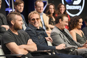 (Top L-R) Actors Mark Duplass, Jeremy Bobb, Elizabeth Reaser and Lynn Collins (Bottom L-R) Actors Sam Worthington, Paul Bettany, Chris Noth and Keisha Castle-Hughes at the 'Manhunt: Unabomber' panel for the 'Discovery Channel - Discovery' portion of the TCA Summer Event 2017 at The Beverly Hilton Hotel on July 26, 2017 in Beverly Hills, California.