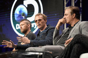 (Top L-R) Actors Sam Worthington, Paul Bettany and Chris Noth at the 'Manhunt: Unabomber' panel for the 'Discovery Channel - Discovery' portion of the TCA Summer Event 2017 at The Beverly Hilton Hotel on July 26, 2017 in Beverly Hills, California.