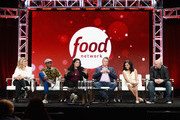 (L-R) Judges Amanda Freitag, Marcus Samuelsson, Alex Guarnaschelli, Marc Murphy, Maneet Chauhan and Chris Santos of 'Chopped' speak onstage during the Food Network portion of the Discovery Communications Summer TCA Event 2018 at The Beverly Hilton Hotel on July 26, 2018 in Beverly Hills, California.