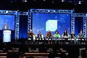 (L-R) General Manager, Science Channel, Marc Etkind, Host and executive producer, Adam Savage, cast members Cannan Huey-You, Rachel Pizzolato, Elijah Horland, Valerie Castillo, Allie Weber and Jesse Lawless of 'MythBusters Jr.' speak onstage during the Discovery Channel/Science Channel portion of the Discovery Communications Summer TCA Event 2018 at The Beverly Hilton Hotel on July 26, 2018 in Beverly Hills, California.