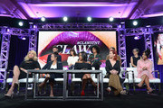 (Front row L-R) Actresses Jenn Lyon, Judy Reyes, Niecy Nash, Carrie Preston and Karrueche Tran (back row L-R) Executive producer Will McCormack, Executive producer Rashida Jones, Executive producer/Showrunner Janine Sherman Barrois, Co-Executive producer/pilot writer Eliot Laurence and Pilot Director Nicole Kassell of 'Claws' speak onstage during the TNT portion of the TCA Turner Winter Press Tour 2017 Presentation at The Langham Resort on January 14, 2017 in Pasadena, California. 26574_001
