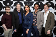 (L-R) Daniel Radcliffe, Steve Buscemi, Geraldine Viswanathan, Karan Soni, and Simon Rich of the television show 'Miracle Workers' pose in the green room during the TCA Turner Winter Press Tour 2019 at The Langham Huntington Hotel and Spa on February 11, 2019 in Pasadena, California. 505702