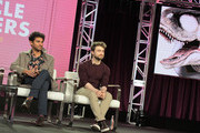(L-R) Karan Soni and Daniel Radcliffe of 'Miracle Workers' speak onstage during the TBS portion of the TCA Turner Winter Press Tour 2019 Presentation at The Langham Huntington Hotel and Spa on February 11, 2019 in Pasadena, California. 510169
