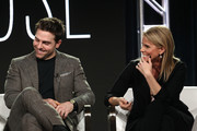 Actors Colt Prattes (L) and Cheryl Hines of the Sundance Now television show This Close participate in a panel discussion onstage during the AMC portion of the 2018 Winter Television Critics Association Press Tour on January 13, 2018 in Pasadena, California.