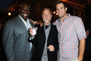 (L-R)  Actor Michael Clarke Duncan, President of Twentieth Century Fox Television Distribution Mark Kaner and actor Geoff Stults (L) and attend a star-studded party hosted by Twentieth Century Fox Television Distribution at the Fox Lot on May 26, 2011 in Century City, California. The party marks the culmination of Fox's week-long LA Screenings events.
