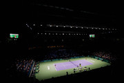 A general view of the stadium as Petra Kvitova of Czech Republic serves to Angelique Kerber of Germany during day four of the TEB BNP Paribas WTA Championships at the Sinan Erdem Dome October 25, 2013 in Istanbul, Turkey.