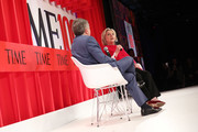 TIME Editor-in-chief Edward Felsenthal and Hillary Clinton speak onstage during the TIME 100 Summit 2019 on April 23, 2019 in New York City.