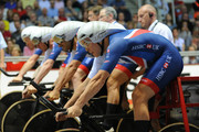 Steven Burke of Great Britain in the blocks before he competes in the Mens Final Pursuit  during the TISSOT UCI Track Cycling World Cup at National Cycling Centre at National Cycling Centre on November 11, 2017 in Manchester, England.