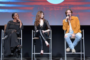 """(L-R) Golden Brooks, India Eisley and Chris Pine speak onstage at TNT's """"I Am The Night"""" FYC Event on May 9, 2019 in North Hollywood, California."""