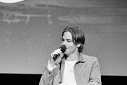 """Image has been shot in black and white. Color version is not available.) Chris Pine speaks onstage at TNT's """"I Am The Night"""" FYC Event on May 9, 2019 in North Hollywood, California."""