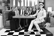 """Image has been shot in black and white. Color version is not available.) (L-R) Golden Brooks, Chris Pine, Sam Sheridan, Patty Jenkins, India Eisley, Connie Nielsen and Jefferson Mays attend TNT's """"I Am The Night"""" FYC Event on May 9, 2019 in North Hollywood, California."""