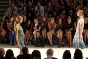 Angela Simmons, Kelly Osbourne, designer Nicky Hilton, Whitney Port, actress Holland Roden and model Jessica Hart attend the Charlotte Ronson Spring 2012 fashion show during Mercedes-Benz Fashion Week at The Stage at Lincoln Center on September 10, 2011 in New York City.