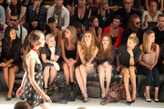 Actress Joy Bryant, Kelly Osbourne, designer Nicky Hilton, Whitney Port, actress Holland Roden, model Jessica Hart and actress Nasim Pedrad attend the Charlotte Ronson Spring 2012 fashion show during Mercedes-Benz Fashion Week at The Stage at Lincoln Center on September 10, 2011 in New York City.