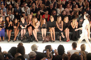 (2nd L- 3rd R) Actress Joy Bryant, Angela Simmons, Kelly Osbourne, designer Nicky Hilton, Whitney Port, actress Holland Roden, model Jessica Hart, actresses Nasim Pedrad and Abby Elliott attend the Charlotte Ronson Spring 2012 fashion show during Mercedes-Benz Fashion Week at The Stage at Lincoln Center on September 10, 2011 in New York City.