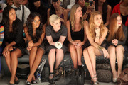 Actress Joy Bryant, Angela Simmons, Kelly Osbourne, designer Nicky Hilton, Whitney Port and actress Holland Roden attend the Charlotte Ronson Spring 2012 fashion show during Mercedes-Benz Fashion Week at The Stage at Lincoln Center on September 10, 2011 in New York City.