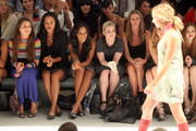 (2nd L-R) Actress Joy Bryant, Angela Simmons, Kelly Osbourne, designer Nicky Hilton and actress Holland Roden attend the Charlotte Ronson Spring 2012 fashion show during Mercedes-Benz Fashion Week at The Stage at Lincoln Center on September 10, 2011 in New York City.