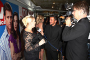 **UK TABLOID NEWSPAPERS OUT** Claire Richards (L) is interviewed by Peter Andre on arriving to attend the TV Quick & TV Choice Awards champagne reception at The Dorchester on September 7, 2009 in London, England.