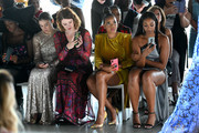 Kimmy Shields, Angela Simmons and Chantel Riley attend the Tadashi Shoji Spring/Summer front row during New York Fashion Week: The Shows at Gallery I at Spring Studios on September 05, 2019 in New York City.