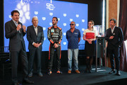 (L-R) Creative Director Guy Bove, Derek Bell, Jean-Eric Vergne, Chad McQueen, Heritage Director Catherine Eberle-Devaux and Patrick Dempsey attend Tag Heuer New Monaco Limited Edition Unveiling Exclusive Event at Domaine de la Groirie on June 14, 2019 in Le Mans, France.