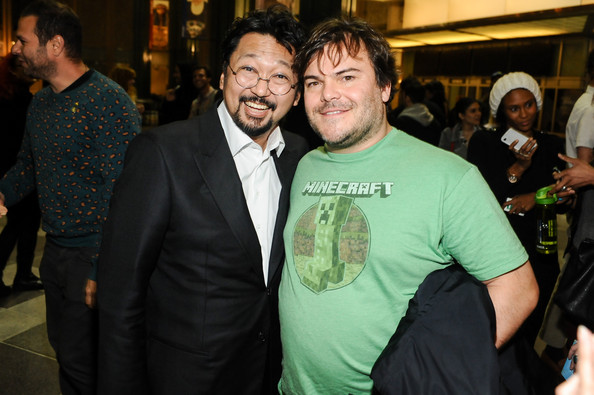 Takashi Murakami and Jack Black attend Takashi Murakami's international film premiere of Jellyfish Eyes at LACMA on April 8, 2013 in Los Angeles, California.