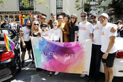 (L-R) Murray Bartlett, Laura Linney, Charlie Barnett, Josiah Victoria Garcia, May Hong, Jen Richards, Zosia Mamet, Barbara Garrick, Lauren Morelli and friends are seen at the 2019 San Francisco Pride Parade on June 30, 2019 in San Francisco, California.