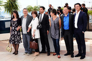 """(Left to Right) Moira Buffini, Director Stephen Frears, Posy Simmonds,  Dominic Cooper, Tamsin Greig, Bill Camp and Luke Evans attend the """"Tamara Drew"""" Photocall at the Palais des Festivals during the 63rd Annual Cannes Film Festival on May 18, 2010 in Cannes, France."""