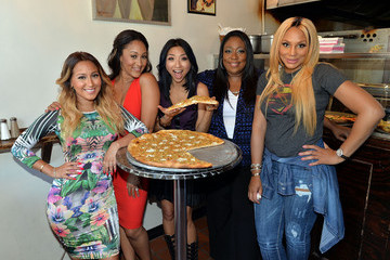 Tamera Mowry-Housley 'The Real' Hosts Pose with Pizza
