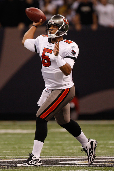 Josh Freeman Quarterback Josh Freeman #5 of the Tampa Bay Buccaneers throws a pass against the New Orleans Saints at the Louisiana Superdome on December 27, 2009 in New Orleans, Louisiana.