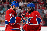Andrei Markov #79 of the Montreal Canadiens speaks with teammate P.K. Subban #76 in Game Five of the Eastern Conference Semifinals against the Tampa Bay Lightning during the 2015 NHL Stanley Cup Playoffs at the Bell Centre on May 9, 2015 in Montreal, Quebec, Canada. The Canadiens defeated the Lightning 2-1.  The Lightning lead the series 3-2.