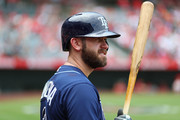 Evan Longoria #3 of the Tampa Bay Rays prepares to bat in the fourth inning against the Los Angeles Angels at Angel Stadium of Anaheim on July 16, 2017 in Anaheim, California.