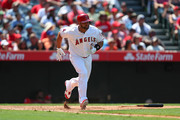 Albert Pujols #5 of the Los Angeles Angels heads to first on a ground out in the eighth inning against the Tampa Bay Rays at Angel Stadium of Anaheim on July 16, 2017 in Anaheim, California.