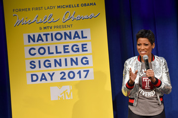 Tamron Hall MTV's 2017 College Signing Day with Michelle Obama - Inside