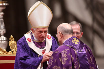 Tarcisio Bertone Pope Benedict XVI Celebrates Ash Wednesday Mass - February 13, 2013