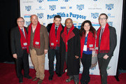 (L-R) Wayne Kostroski, Andrew Zimmern, Adam Richman, Daymond John, Alex Guarnaschelli and Ted Allen arrive at Brooklyn Cruise Terminal on February 1, 2014 in New York City.