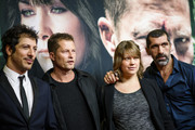 (L-R) Fahri Yardim, Til Schweiger, Britta Hammelstein and Erdal Yildiz attend the 'Tatort - Der Grosse Schmerz' premiere in Berlin at Kino Babylon on December 16, 2015 in Berlin, Germany.