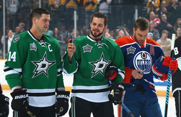 2016 Honda NHL All Star Skill Competition [picture,player,sports,team sport,ball game,jersey,team,stick and ball games,tournament,ice hockey equipment,sports gear,tyler seguin,jamie benn,c,bridgestone arena,tennessee,nhl,honda,dallas stars,all star skill competition]