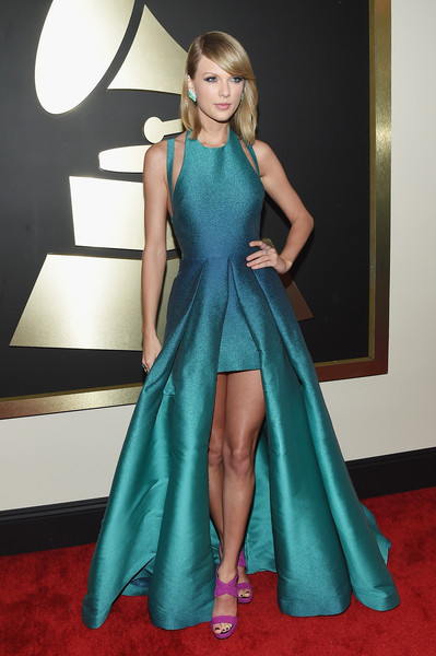 The 57th Annual GRAMMY Awards - Red Carpet [red carpet,red carpet,fashion model,carpet,clothing,dress,flooring,a-line,shoulder,gown,turquoise,taylor swift,california,los angeles,staples center,57th annual grammy awards,the 57th annual grammy awards]