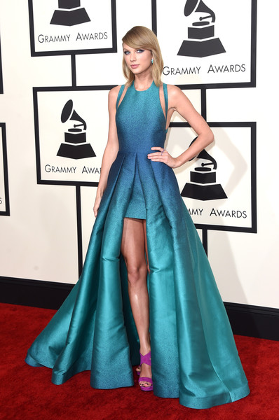 57th GRAMMY Awards - Arrivals [blue,flooring,carpet,red carpet,gown,dress,shoulder,electric blue,fashion model,fashion,arrivals,taylor swift,grammy awards,staples center,los angeles,california,the 57th annual grammy awards]