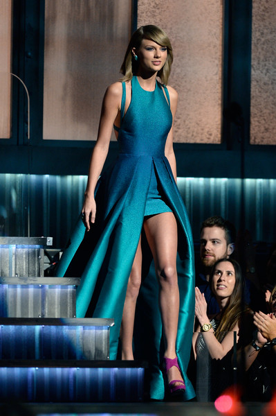 57th GRAMMY Awards - Show [fashion model,dress,clothing,shoulder,cocktail dress,fashion,beauty,turquoise,leg,lady,taylor swift,grammy awards,california,los angeles,staples center,show,57th annual grammy awards]